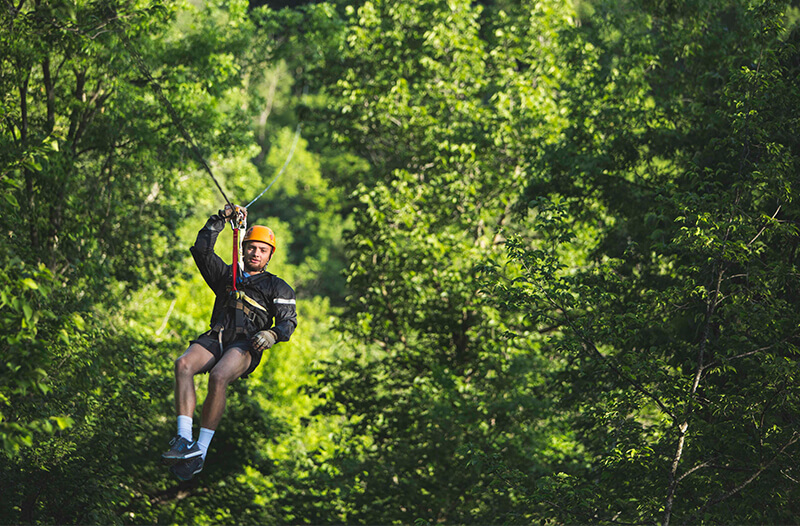Man ziplines through the trees