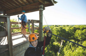 Zipper leaves the tower on the kerfoot canopy tour
