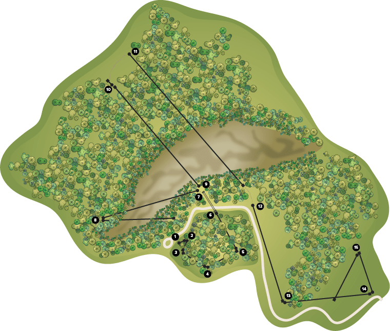 Map showing the ziplines on Kerfoot Canopy Tour